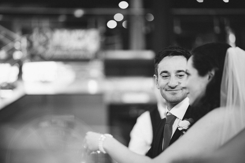 Bride and Groom at the bar