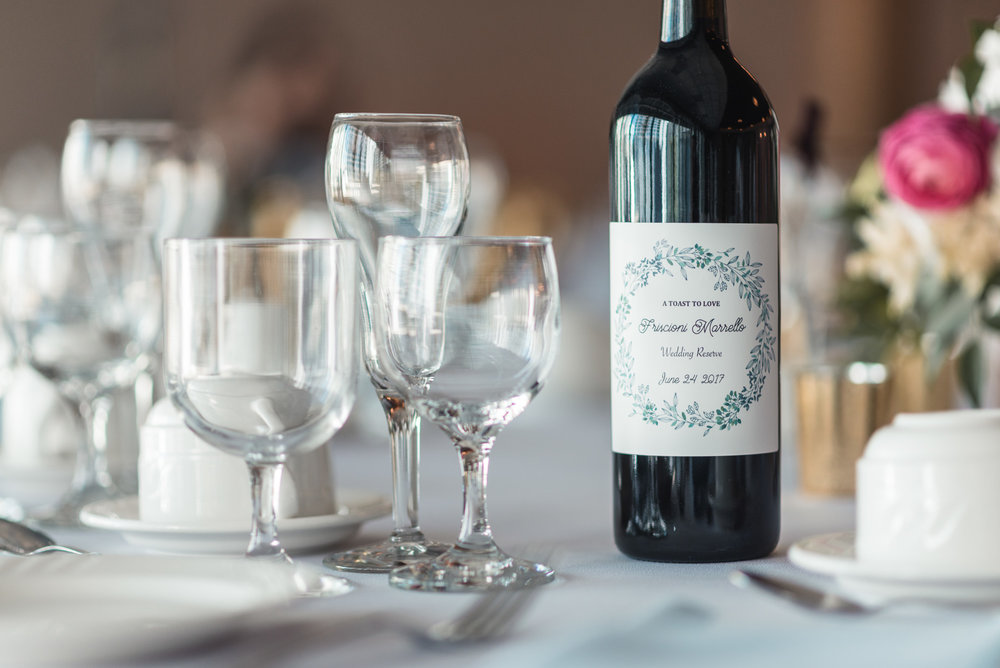Reception table details wine