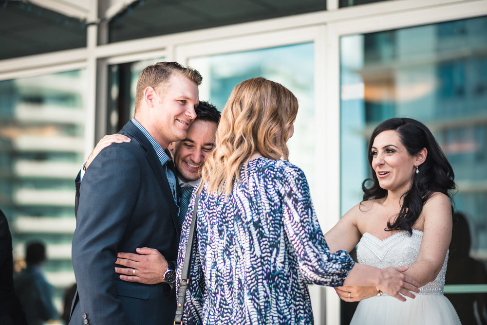 Bride and groom receiving line
