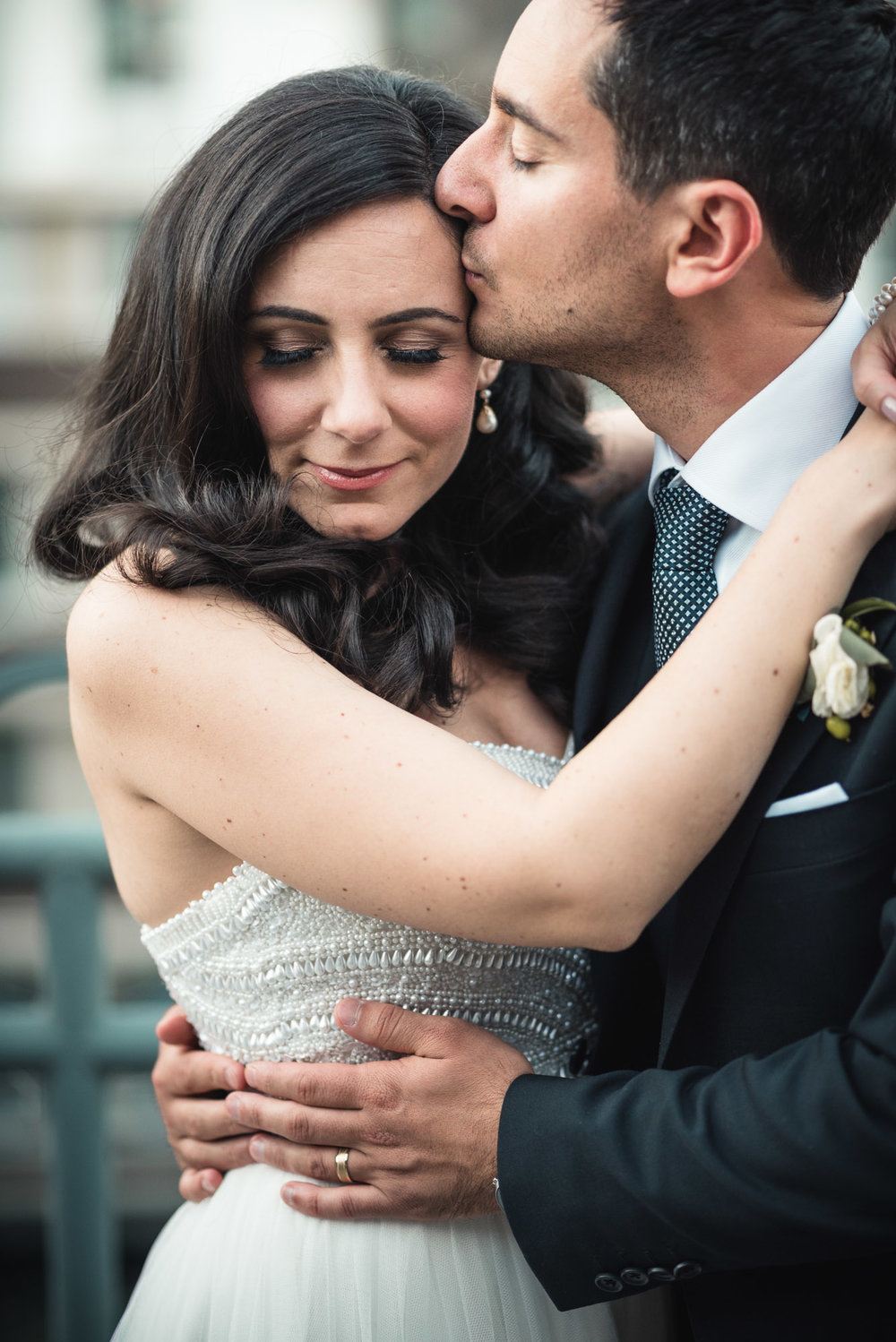 Bride and Groom kiss at reception