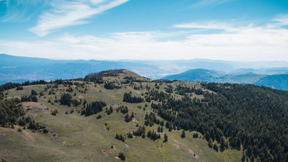 Mount Kobau landscape drone bird's eye view