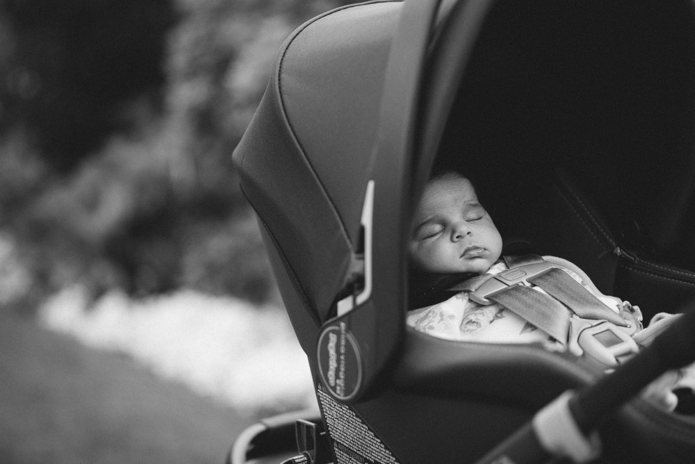 Baby in a stroller at ceremony