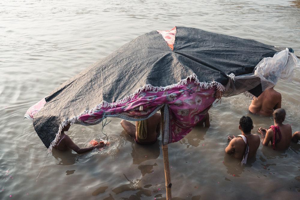 People bathing in the Ganges in Varanasi