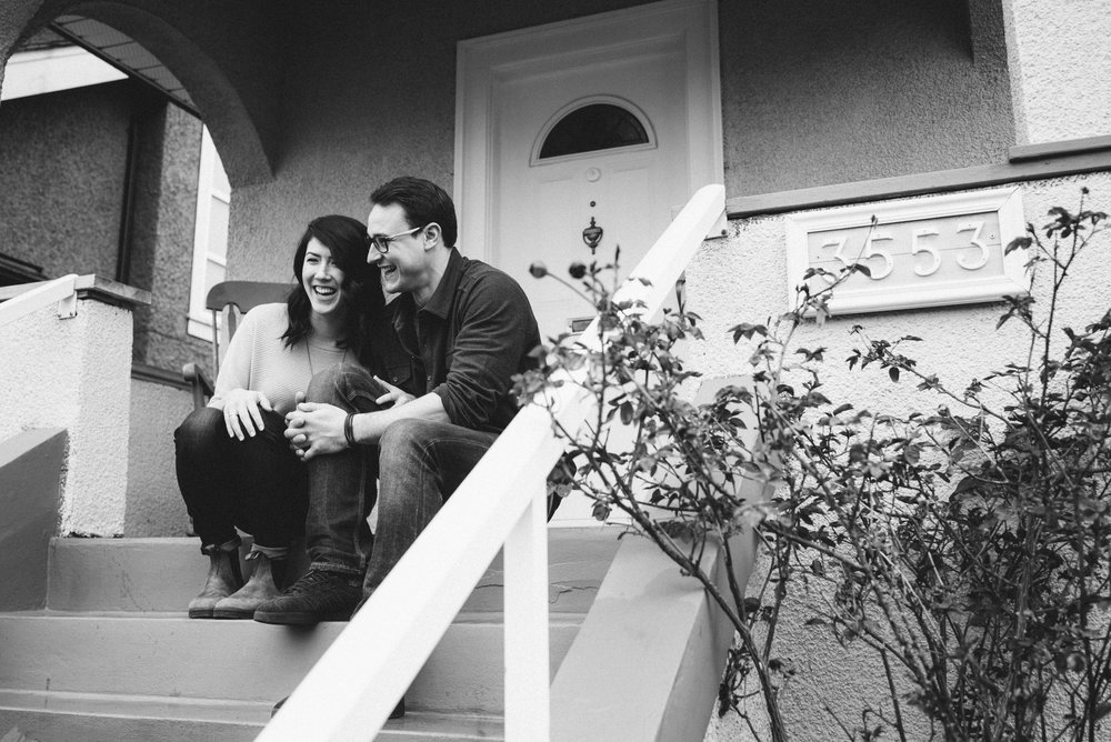 Couple on front steps