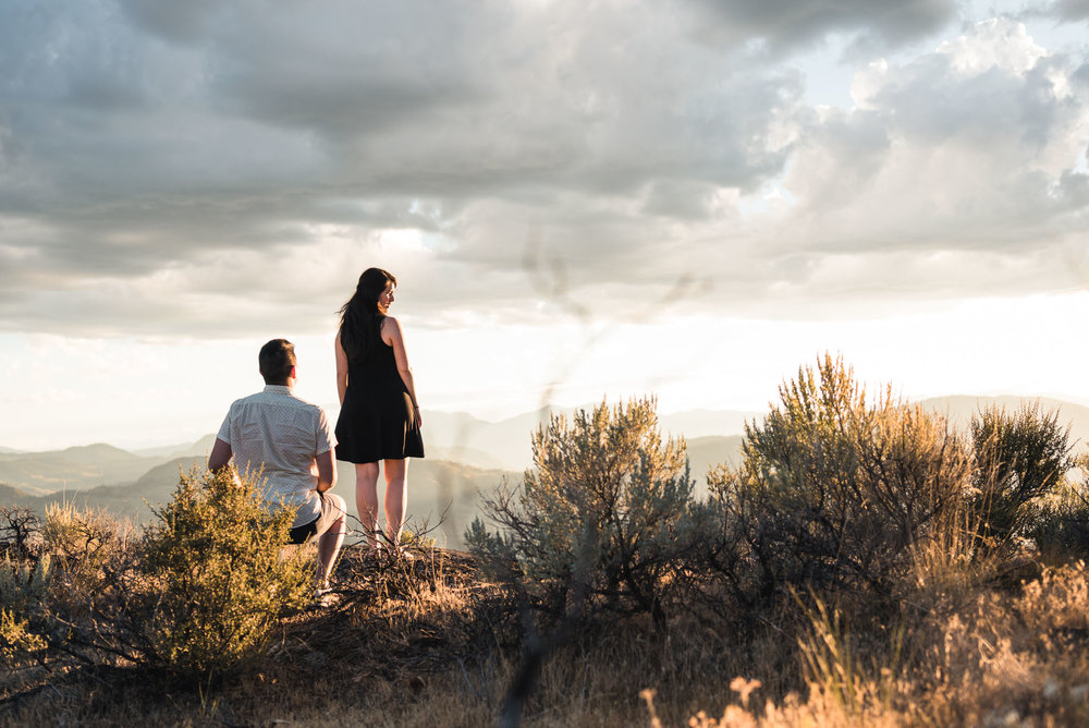 Man proposes with sunset on Anarchist Mountain, Osoyoos