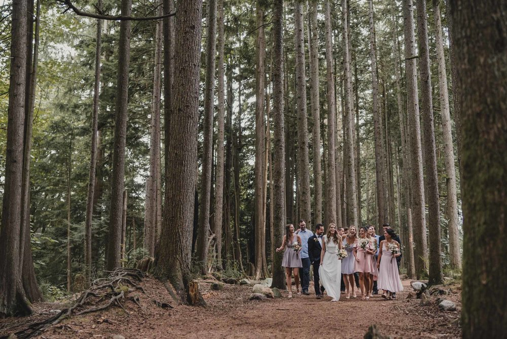 Bridal party walks down forest path