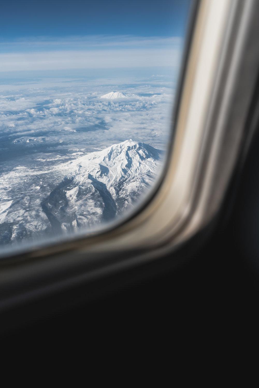 Mountain view from airplane window. Oregon