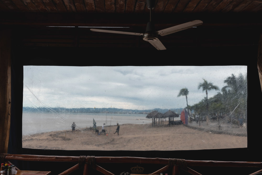 Puerto Vallarta beach scene through window