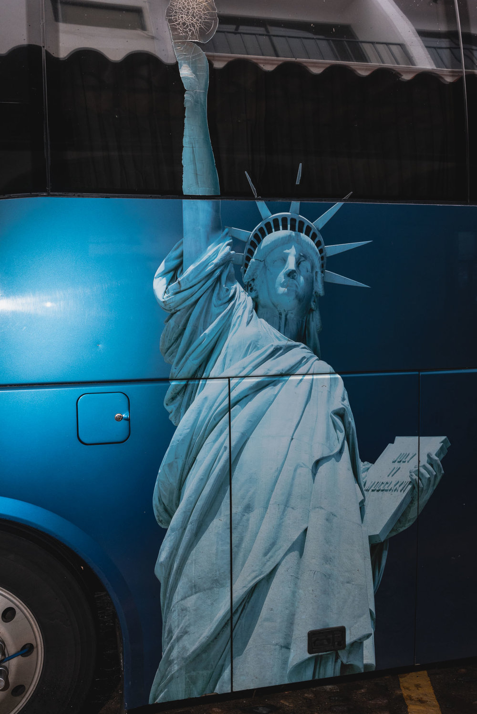 Puerto Vallarta tour bus with Statue of Liberty