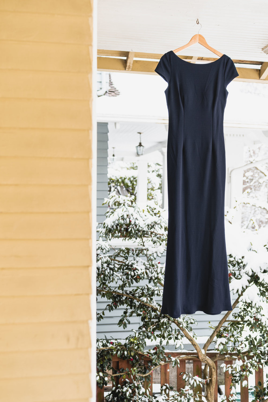 Blue wedding dress hanging
