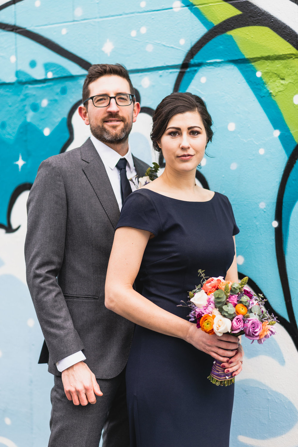 Bride and Groom at mural