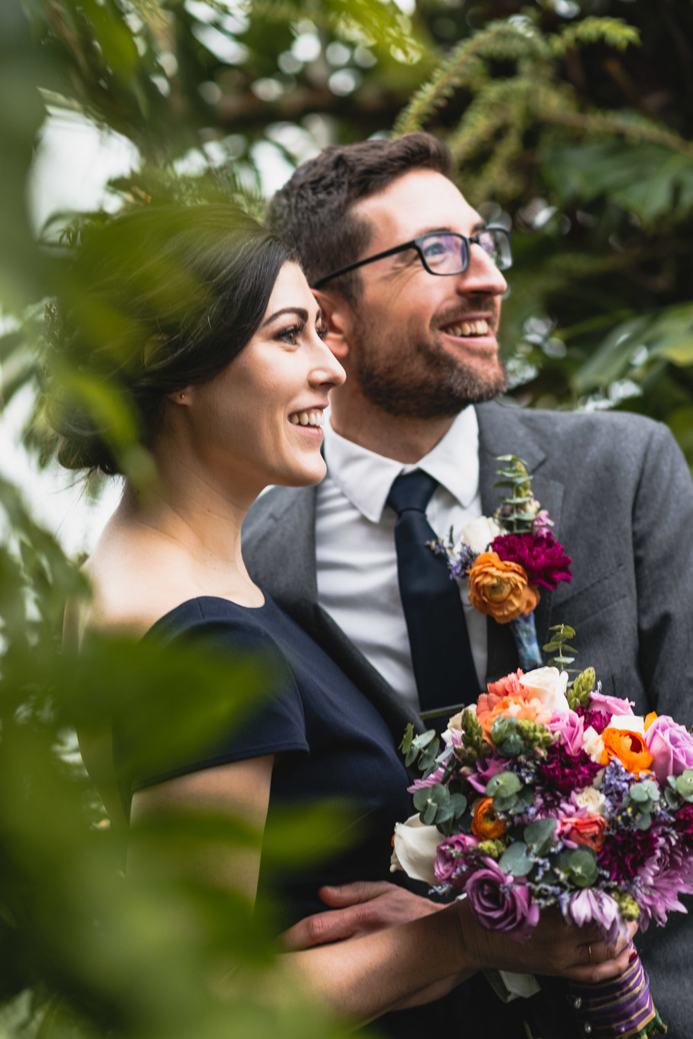 Bride and groom with plants