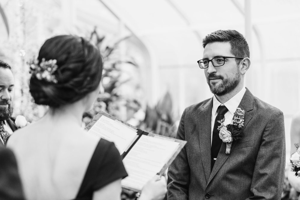 Bride reads vows at ceremony
