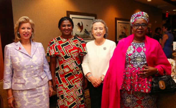 IMAGE CREDIT: GE (FROM LEFT) H.E., FIRST LADY OF COTE D'IVOIRE, MRS. DOMINIQUE OUATTARA-FOLLOROUX; H.E. FIRST LADY OF NAMIBIA, MRS. MONICA GEINGOS; H.E., MRS. BAN SOON-TAEK, SPOUSE OF UN SECRETARY GENERAL BAN KI-MOON; H.E. DR. MALIKA ISSOUFOU MAHAMADOU, FIRST LADY OF THE REPUBLIC OF NIGER. THE ORGANISATION OF AFRICAN FIRST LADIES AGAINST HIV/AIDS (OAFLA) JOINED GE AND SANTA CLARA UNIVERSITY'S MILLER CENTER FOR SOCIAL ENTREPRENEURSHIP ON TO ADVANCE SOCIAL ENTREPRENEURSHIP TO IMPROVE MATERNAL AND CHILD HEALTH OUTCOMES IN SUB-SAHARAN AFRICA.