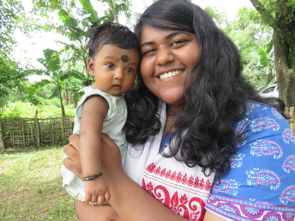Sweaty me wearing a gamucha with a cute baby