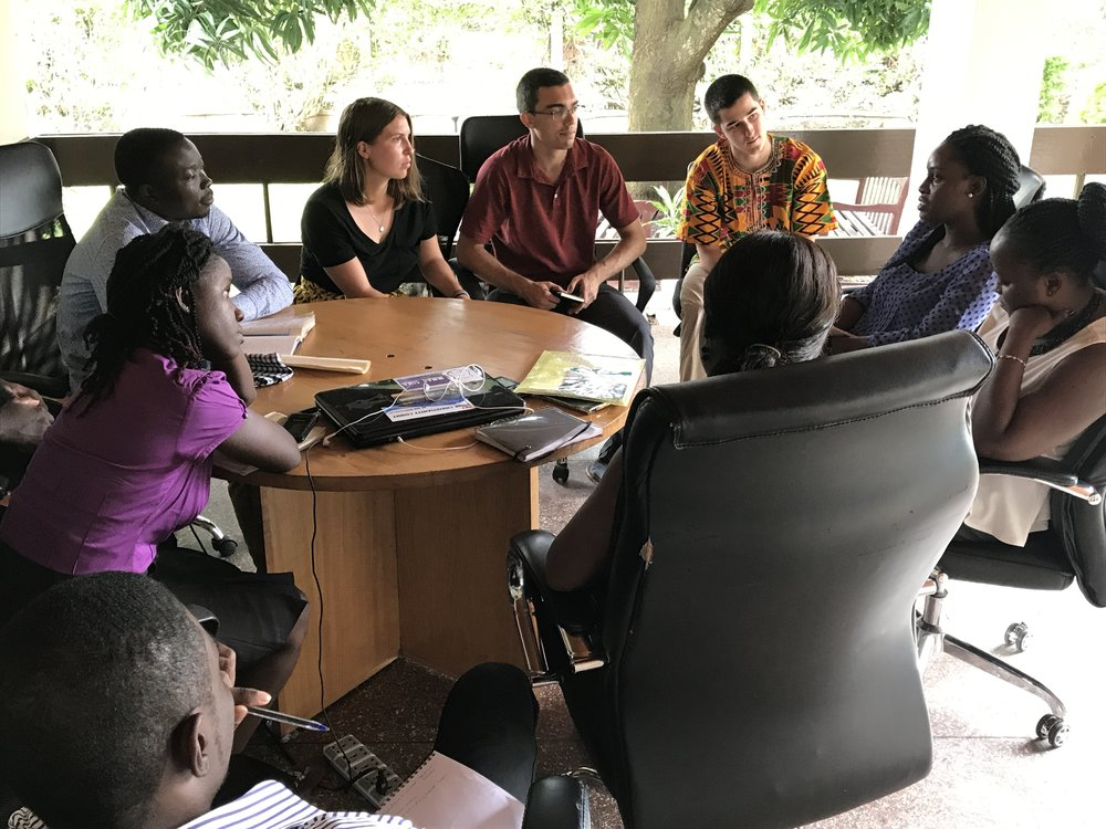 Marisa Rudolph (third from the left) participates in a farmer-services team meeting with Farmerline staff (Kumasi, Ghana).