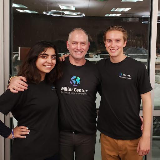 Global Social Benefit Fellows '18 Huda Navaid and Joe Curran, and Director of Global Operations Spencer Arnold representing Miller Center