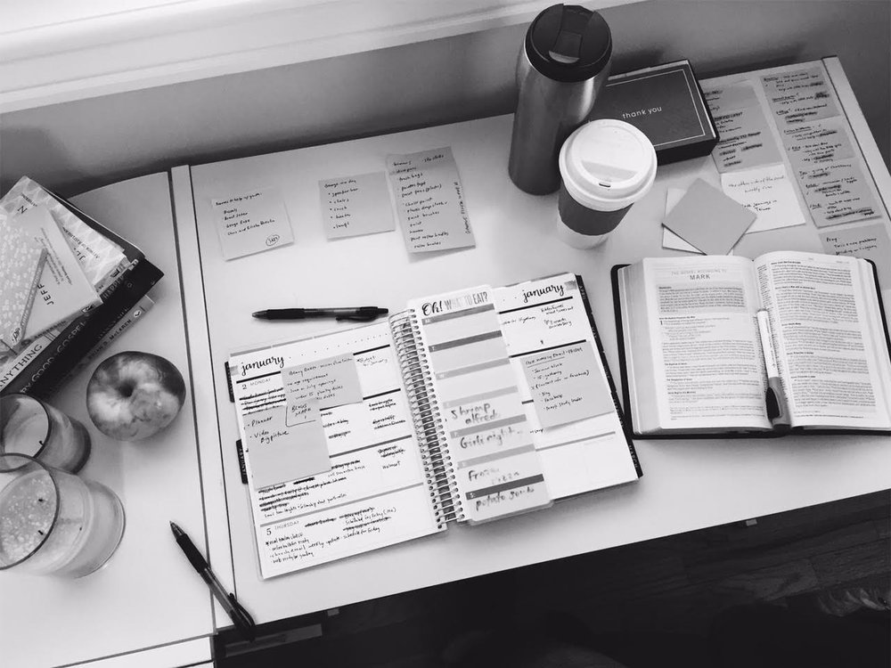 My desk, my lists, and my beloved planner.