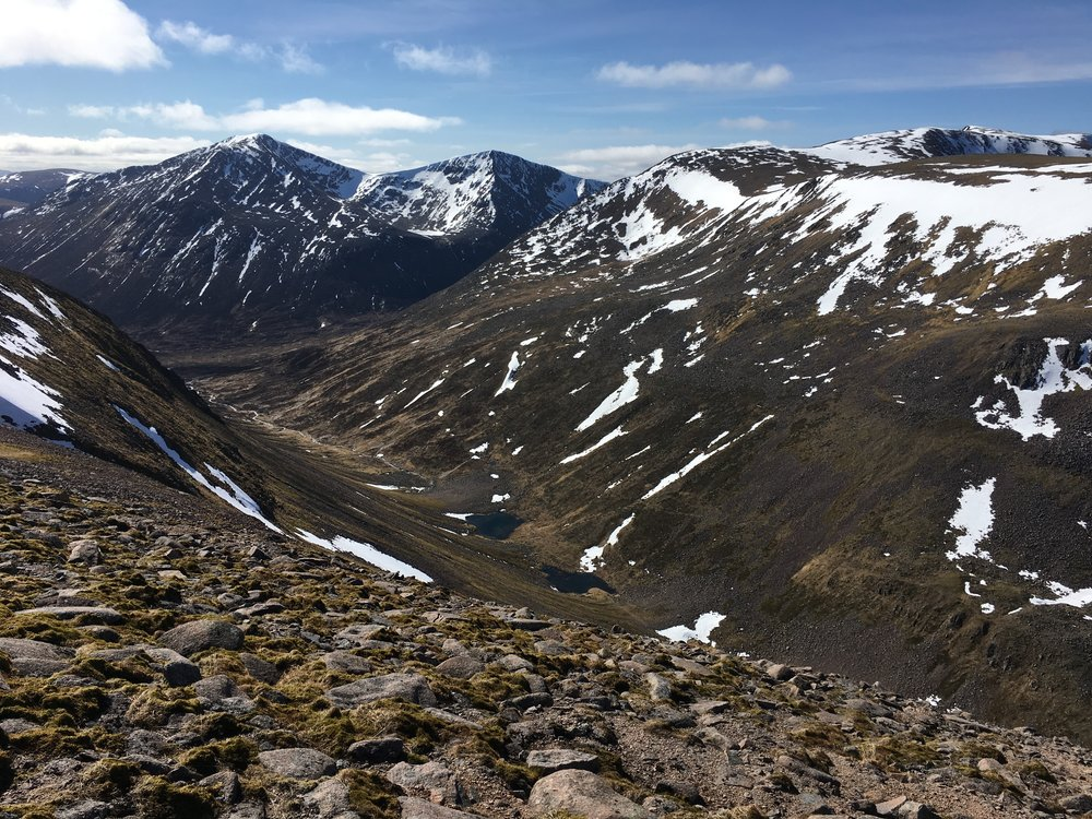 Lairig Ghru and the Pools of Dee from above