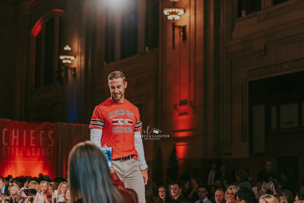 Kansas City Chiefs Quarterback, Alex Smith, walks the Runway at KC Fashion Week.