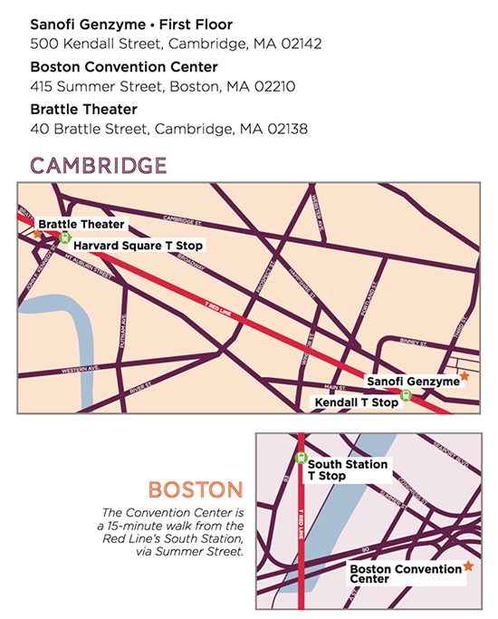 Google map to Brattle Theater and Sanofi Genzyme.