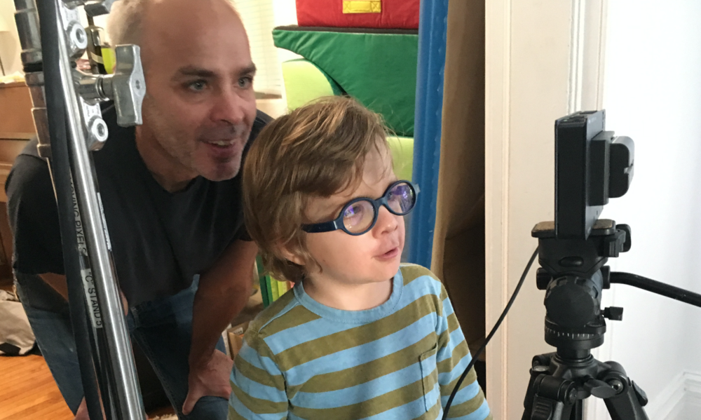 Finn (and dad) monitors the production of his film.
