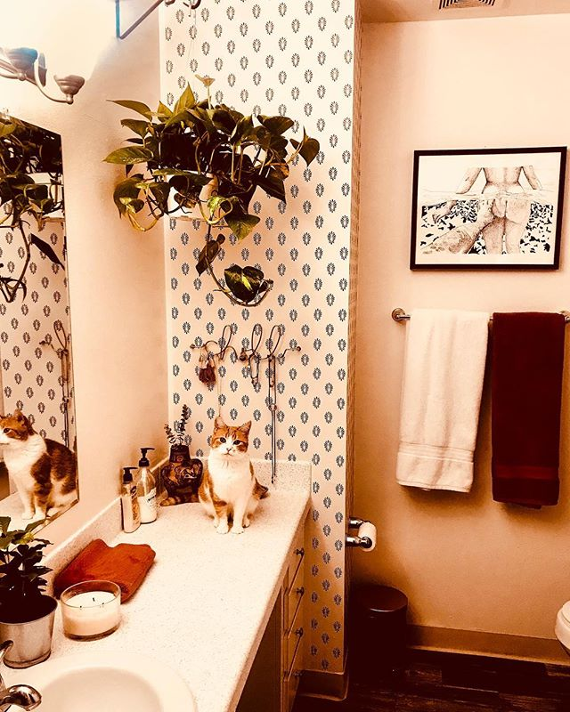 My new bathroom assistant, will pump soap into hands for small fee (also how cute is this fake wallpaper from @target?!)