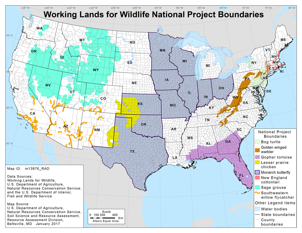 Working Lands for Wildlife National Project Boundaries