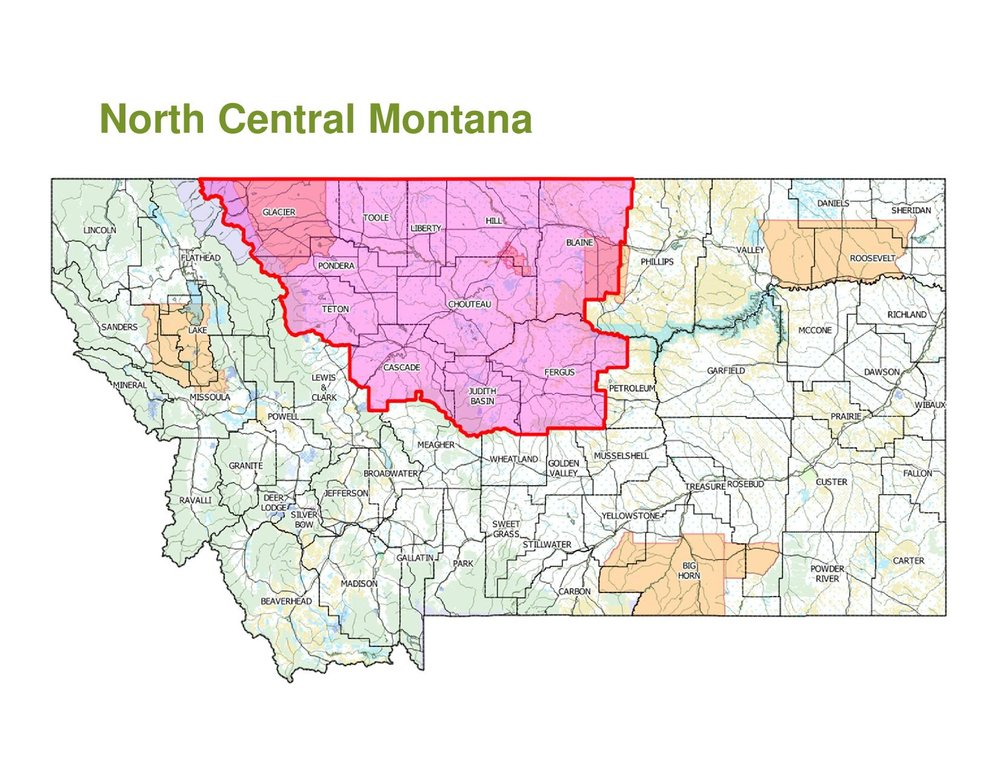 North Central Montana map provided by Northwest Farm Credit Service