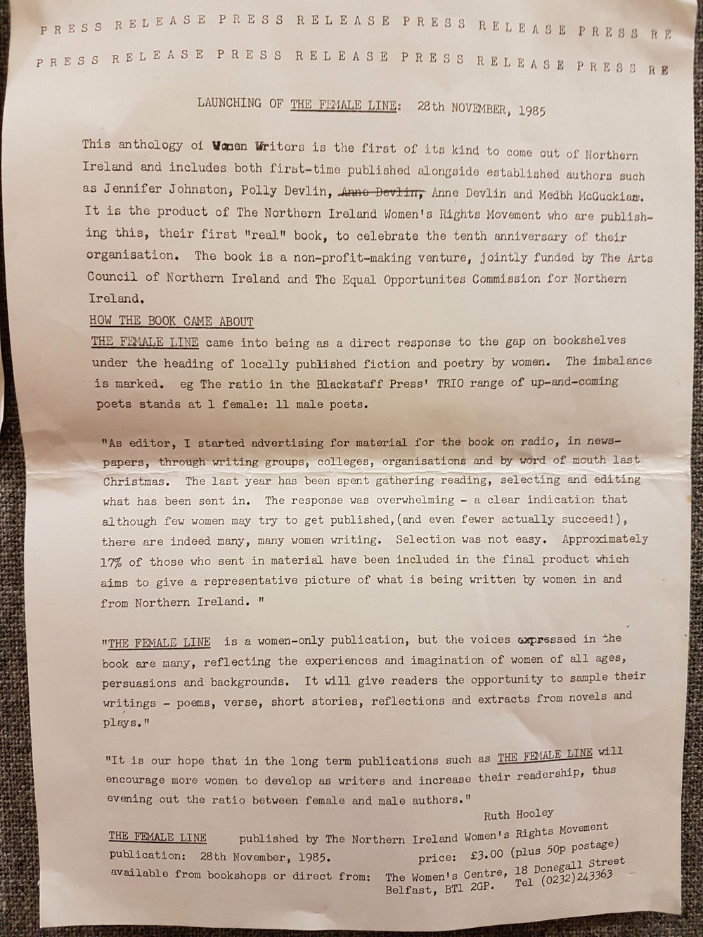 Press release for launch of  The Female Line  in November 1985