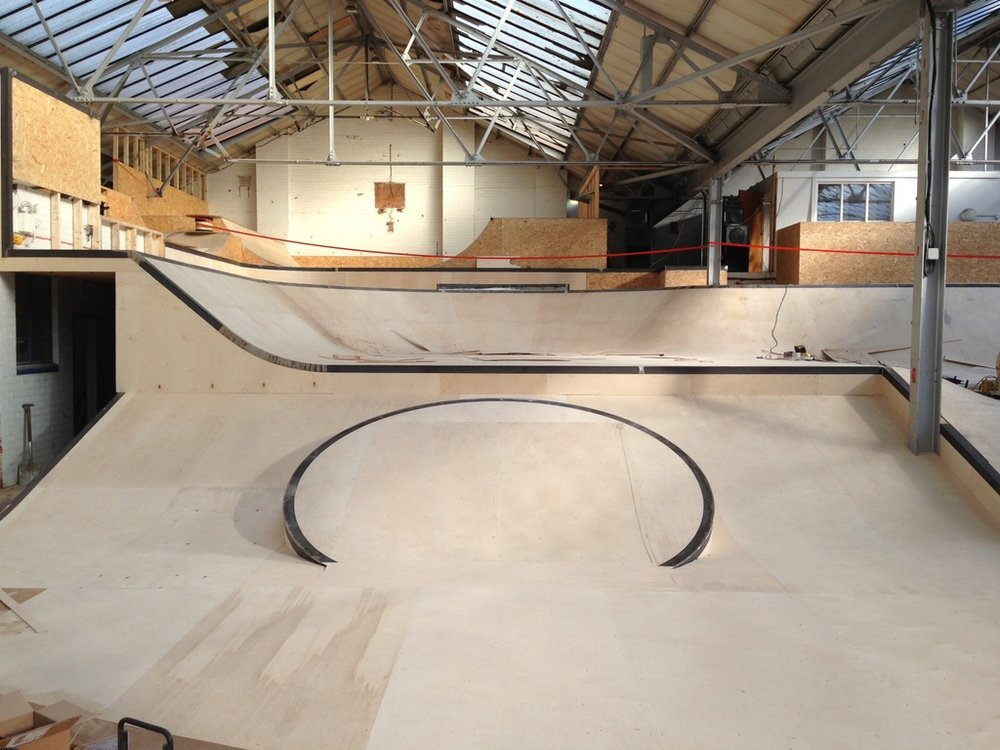 A section of RockCity Skatepark, its current incarnation under construction some time back. RockCity has been serving the skaters of Hull since 1994