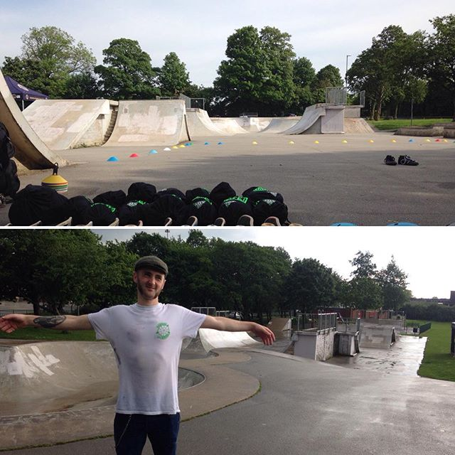 Gotta love British weather for skateboard coaching #coaching #skater #skatepark #rainyday #skatecoach #skateboard #britishweather #summer #saturday #rainraingoaway