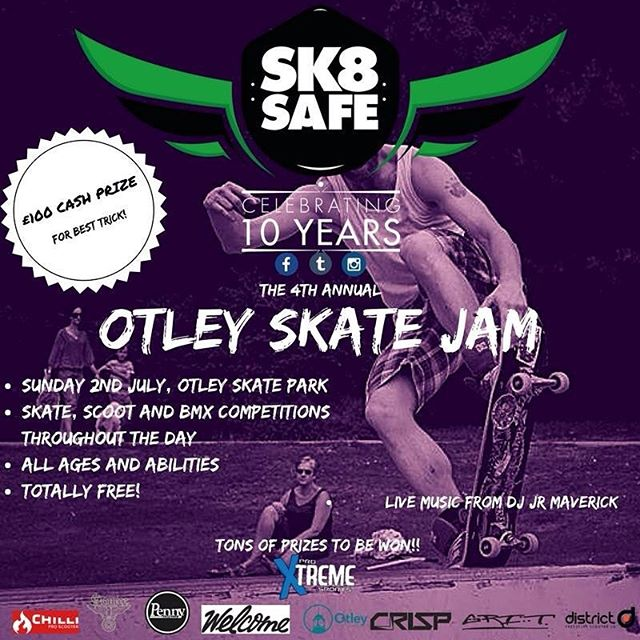 It's on! Tomorrow, 1pm, Otley Skate Park! #skateboard #skateboardingisfun #skateboarding #sundayfunday #rad #community #competition #free #leeds #yorkshire #otley #skatejam #skatepark #scooter #bmx #ride #bigweekend #summer