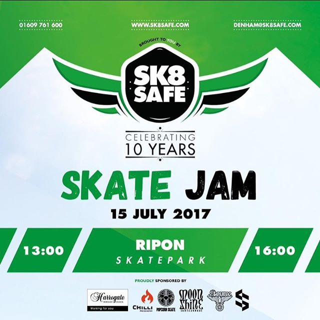 Due to the weather today Ripon Skate Jam is now on Sunday 16th July 2017...starts 1pm #weekend #jam #skatepark #skaters #skateboarding #event #ripon #northyorkshire #riders #bmx #scooter #freestyle