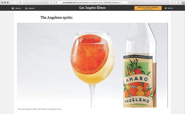 Not too shabby...Our #LA brand reppin' hard with the #italians #thenewspritz #angelenospritz  Thanks @latimesfood @patcisco for the words and @bigmac857 for the 📷 Link in Bio.