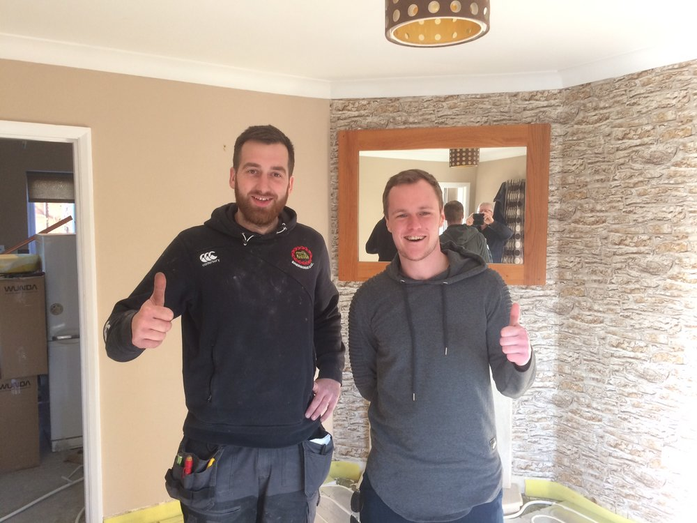 Pat O'Loughlin and Paul from Wunda underfloor Heating in Sandy and Kate's House.