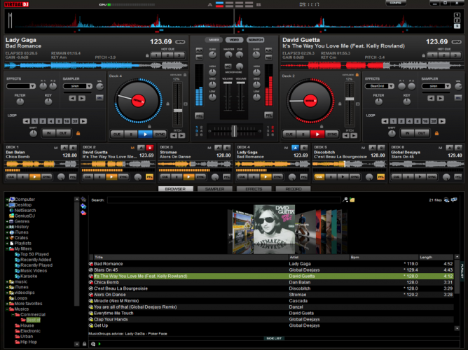 I use VirtualDj8 as my mixing platform - it can transition seamlessly between audio and video and has built in track cleaners to remove profanity.
