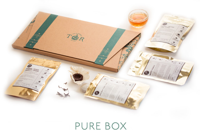 The Pure Tea Box will contain pure teas (aka straight teas) only. It will always contain a Black tea and likely a Green tea, and rotate through various others including Yellow teas, White teas, Oolongs, Pu-erhs.   No flavors. No blends. No herbals.