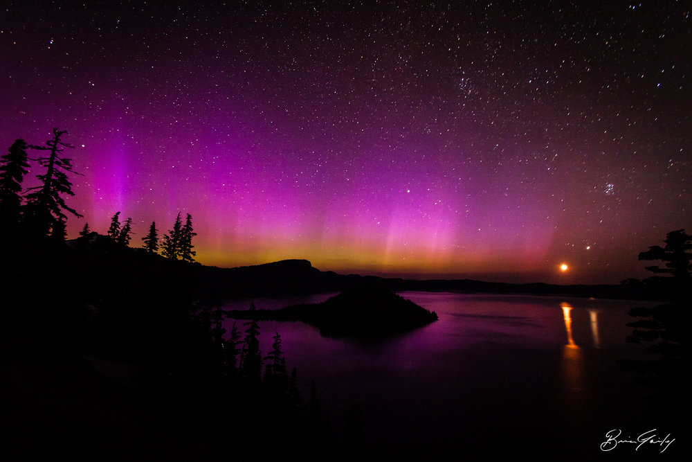My first aurora. Crater Lake, Oregon - July 2012.