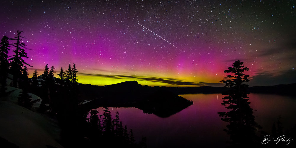 Northern Lights over Crater Lake with the International Space Station. Brian Gailey - June 2013.