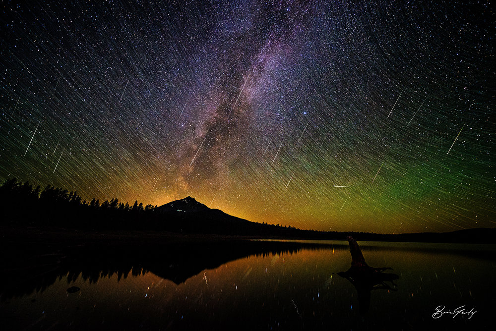 Perseid Meteor Shower over Fourmile Lake, OR. BrianGailey.com