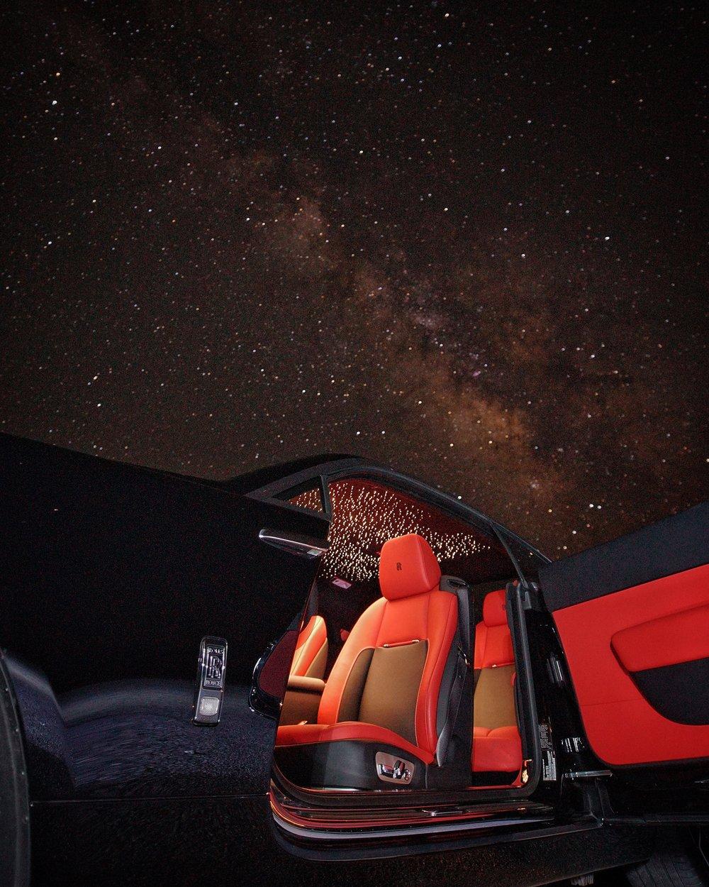 Rolls-Royce Wraith, With Starlight Headliner, in Death Valley, California