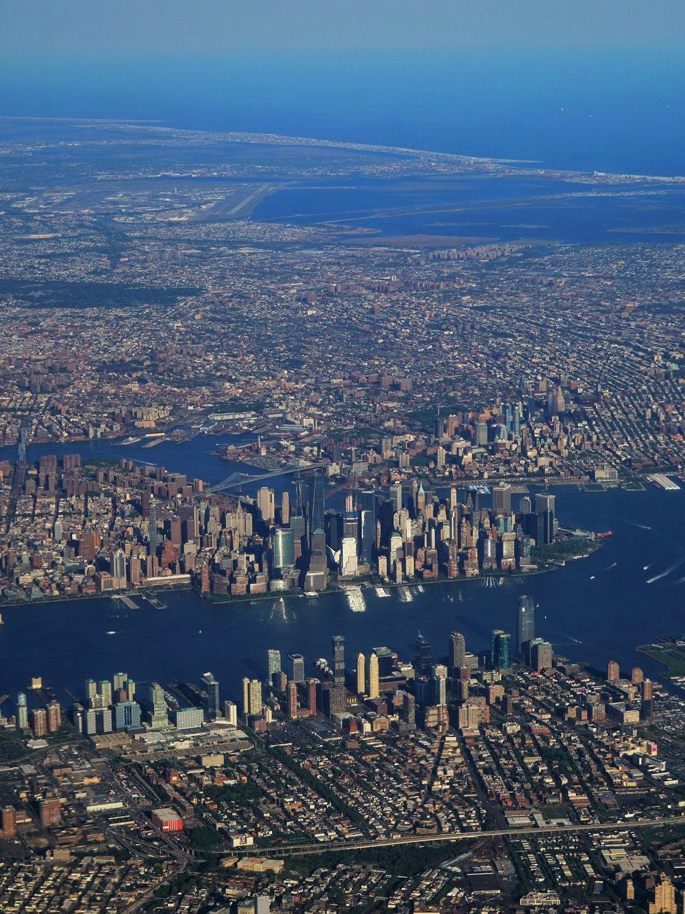 Lower Manhattan, departing Newark