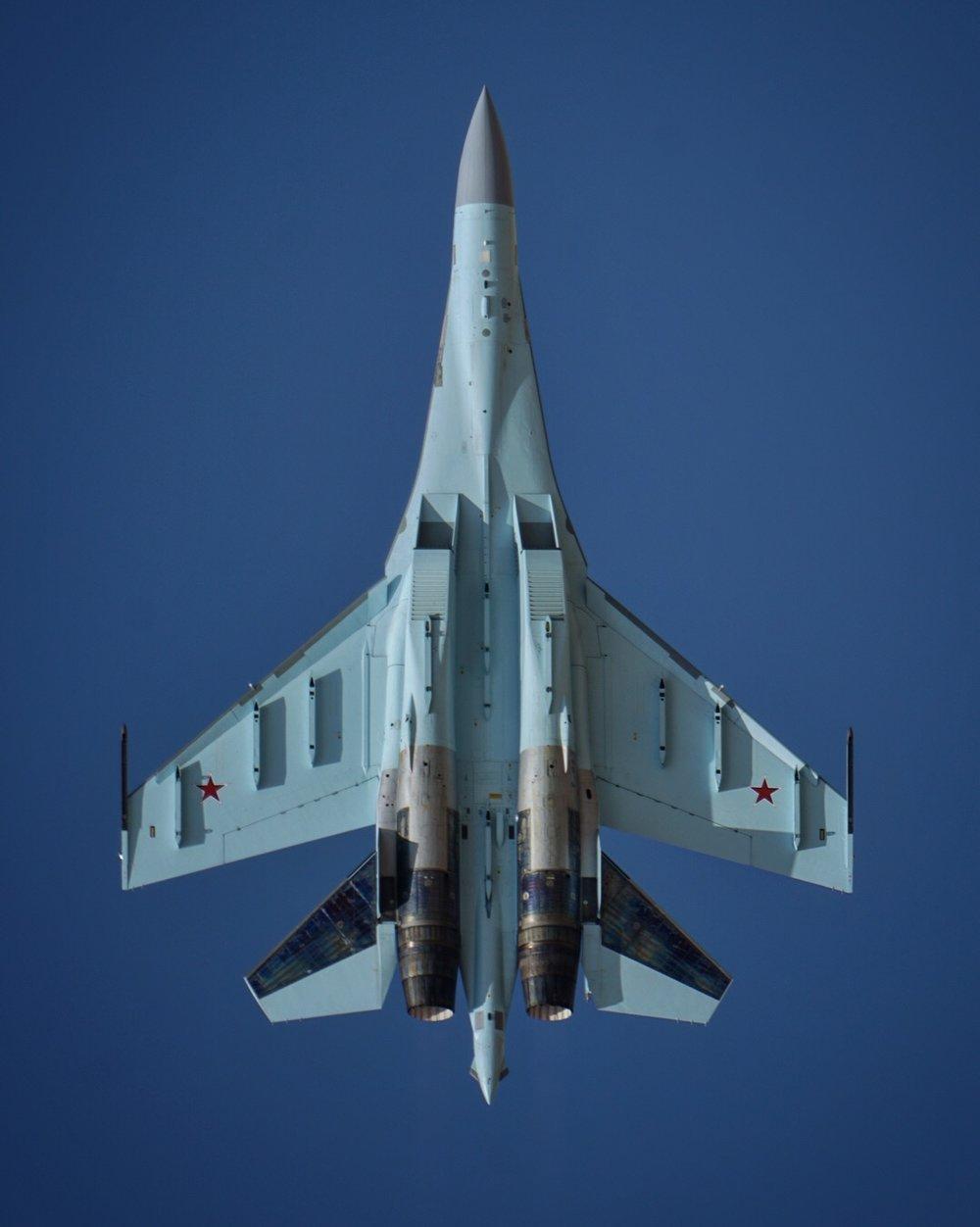 A Russian SU-35 at the 2017 Dubai Airshow