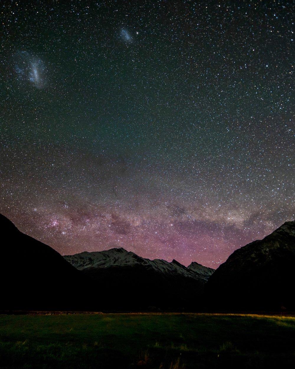 Three galaxies, from New Zealand