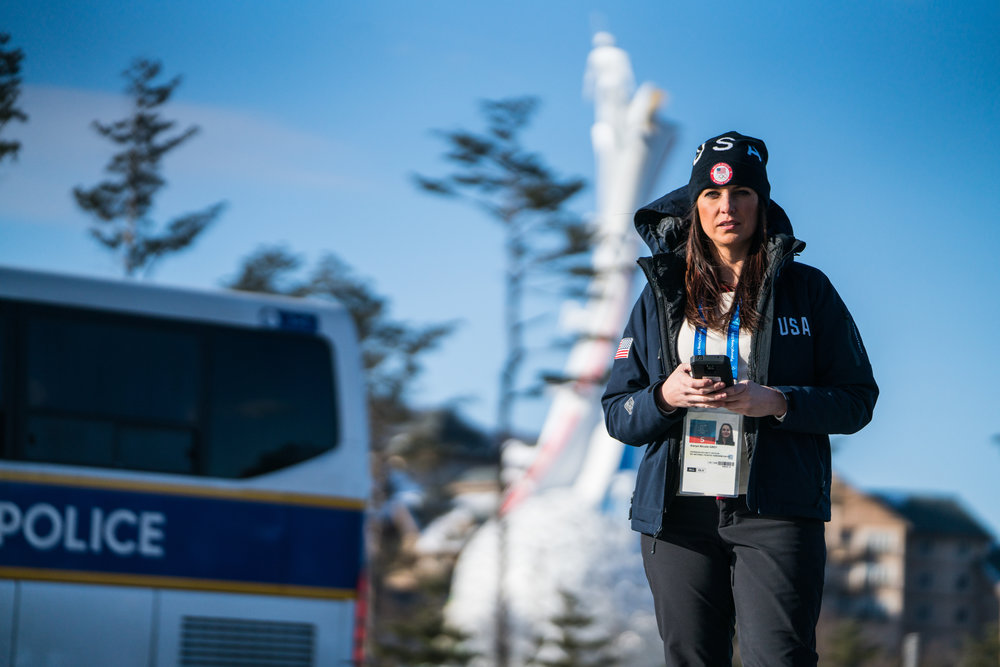 Diplomatic Security Service agent Karyn Grey at the 2018 Olympic Winter Games in South Korea