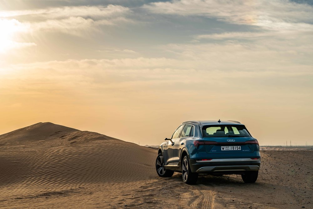 Audi E-Tron in the desert near Abu Dhabi