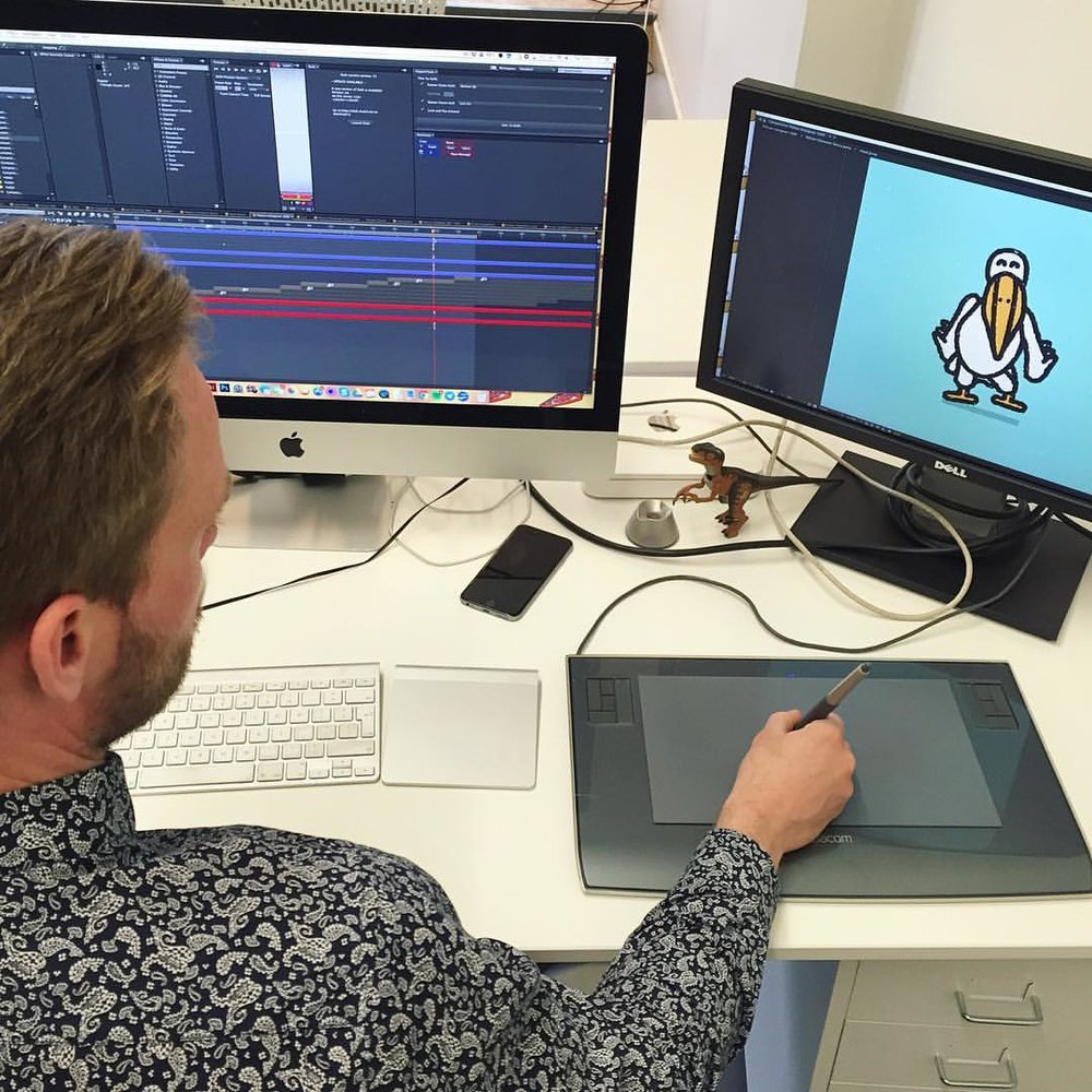 """Sneak peak: Bobby, our Creative Director, is working on something special! Say """"Hi"""" to Pelican Pim and check back on Monday for more..."""