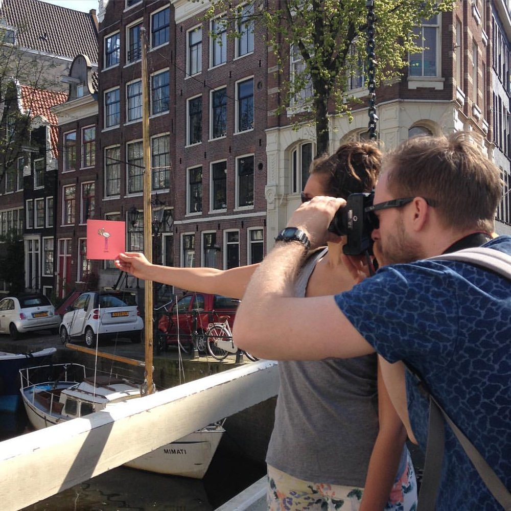 That's a wrap! Inspired by our favorite city, we shot our spring look book at some of our spots around town. Do you recognize this cute #Amsterdam canal?