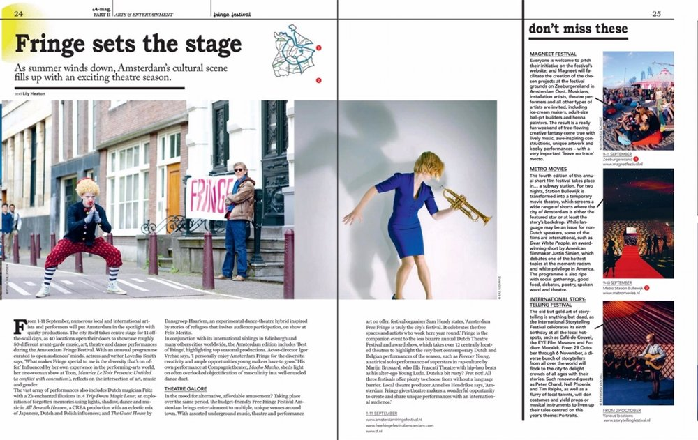 Writing | A-mag – Amsterdam Magazine: Vol 4, No. 5 | September/October 2016 | Arts & Entertainment Feature | Page 24-25